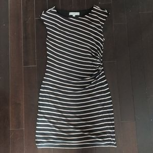 Loft Striped Jersey Dress With Ruched Side